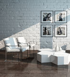Minimalist living room interior with brick wall Stock Image