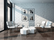 Minimalist living room interior with brick wall Royalty Free Stock Photos
