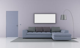 Minimalist living room. With modern sofa and closed door - rendering vector illustration
