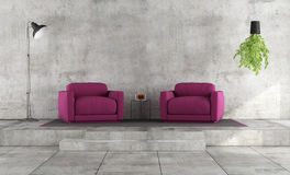 Minimalist living room with purple armchairs Royalty Free Stock Photos