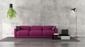 Minimalist living room with purple sofa. Minimalist living room with grunge concrete wall and purple sofa on carpet - 3D Rendering Stock Photography