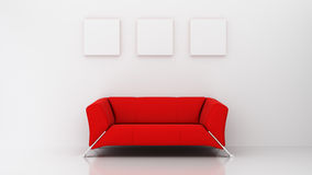 Minimalist living room with red couch and three picture frames Royalty Free Stock Photos