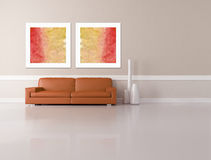 Minimalist living room - rendering Royalty Free Stock Photos