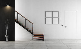 Minimalist living room with staircase - rendering. Black and white living room with staircase - rendering Royalty Free Stock Photos