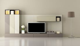 Modern living room with tv unit Royalty Free Stock Image
