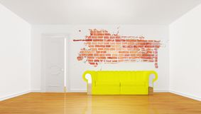 Minimalist living room with yellow couch Stock Photography