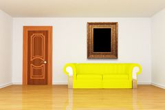 Minimalist living room with yellow couch and frame Royalty Free Stock Image