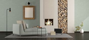 Minimalist lounge with fireplace. Modern living room with fireplace with chaise lounge - 3d rendering Royalty Free Stock Image