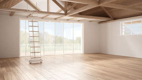 Minimalist mezzanine loft, empty industrial space, wooden roofing and parquet floor, scandinavian classic interior design with ga. Rden panorama stock images