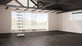 Minimalist mezzanine loft, empty industrial space, wooden roofin. G and parquet floor, scandinavian classic interior design with garden panorama Royalty Free Stock Photo