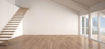 Minimalist mezzaninevind, tomt industriellt utrymme, taklägga för metall royaltyfri illustrationer