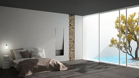 Minimalist modern bedroom with big window showing garden and swi. Mming pool, white and gray interior design Stock Image
