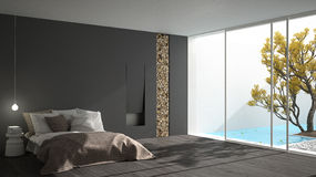 Minimalist modern bedroom with big window showing garden and swi. Mming pool, white and gray interior design Royalty Free Stock Images