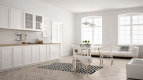 Minimalist modern kitchen with dining table and living room, white scandinavian interior design vector illustration