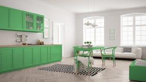 Minimalist modernt kök med att äta middag tabellen och vardagsrum, whi Royaltyfri Fotografi