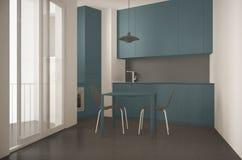 Minimalist modernt kök med det stora fönstret och äta middagtabellen med design för stol-, grå färg- och blåttarkitekturinre arkivbilder