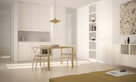 Minimalist modernt ljust kök med att äta middag tabellen och stolar, stor design för fönster-, vit- och gulingarkitekturinre arkivbilder