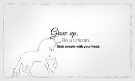 Minimalist motivational poster. Grow up, be a unicorn, stab people with your head. Motivational poster Stock Photos