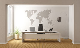 Minimalist office. With desk and world map on wall - 3D Rendering vector illustration