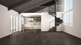 Minimalist open space, white and gray kitchen with mezzanine and modern spiral staircase, loft with bedroom, concept interior desi. Gn background, architect stock illustration