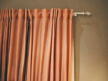 Orange Fabric Cloth Curtain for Room Decoration Royalty Free Stock Photos