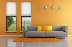 Minimalist orange living room. With gray sofa - rendering vector illustration