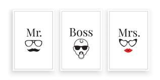 Mr, Mrs and Baby Boss, vector. Scandinavian minimalist wall art design. Three pieces poster design. Fun family wall decoration