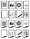 Minimalist Paper Vector Icon Set in Black and White Royalty Free Stock Photography