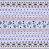 Minimalist prydnad med små blommor i den indiska stilen vektor illustrationer