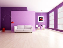 Minimalist purple  living room with dining space Stock Images