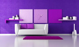 Minimalist purple livingroom. With white couch - rendering royalty free illustration