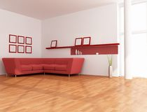 Minimalist red and white lounge Royalty Free Stock Photo