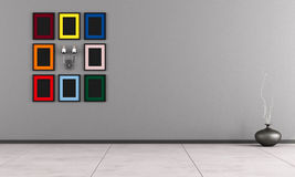 Minimalist room with colorful frame Royalty Free Stock Image