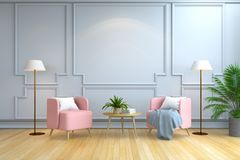 Minimalist room interior design ,Contemporary furniture,pink armchair and white lamp on wood flooring and white wall /3d render. Minimalist room interior design vector illustration