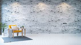 Modern loft interior  ,living room,  white wood flooring, yellow armchair with table and white lamp on bright gray bricks wall  ba Stock Images