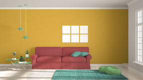 Minimalist room, simple white, colorful living with big window, Royalty Free Stock Photos