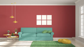 Minimalist room, simple white, colorful living with big window, Royalty Free Stock Images