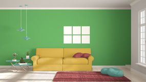 Minimalist room, simple white, colorful living with big window, Royalty Free Stock Photo