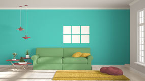 Minimalist room, simple white, colorful living with big window, Stock Image