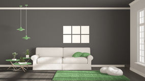 Minimalist room, simple white, gray and green living with big wi Stock Photo