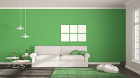 Minimalist room, simple white, gray and green living with big wi Royalty Free Stock Photos