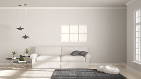 Minimalist room, simple white and gray living with big window, s Royalty Free Stock Photography