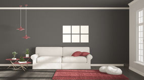 Minimalist room, simple white, gray and red living with big wind Stock Images