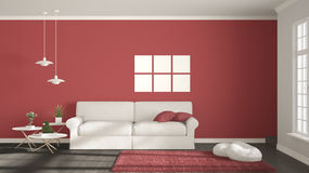 Minimalist room, simple white, gray and red living with big wind Stock Photos