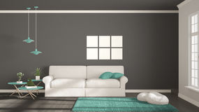 Minimalist room, simple white, gray and turquoise living with bi Royalty Free Stock Photos