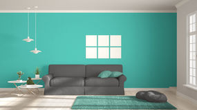 Minimalist room, simple white, gray and turquoise living with bi Stock Photo
