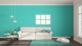 Minimalist room, simple white, gray and turquoise living with bi Stock Photography
