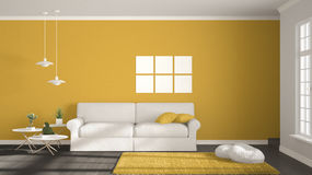 Minimalist room, simple white, gray and yellow living with big w Stock Image