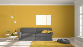Minimalist room, simple white, gray and yellow living with big w Royalty Free Stock Photography