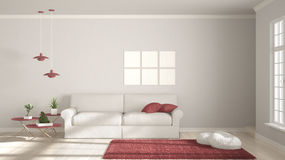 Minimalist room, simple white and red living with big window, sc Royalty Free Stock Photo